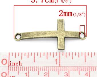 set of 3 antique bronze cross bracelet connectors