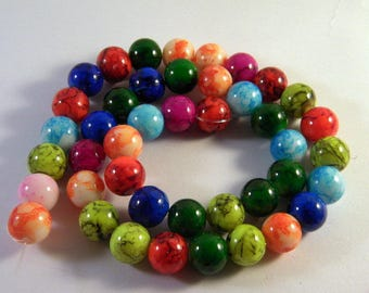 20 10 mm mixed color PV27 marbled glass beads