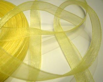 10 m yellow 10 mm organza Ribbon