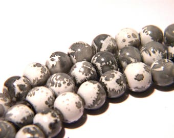 50 glass - beads 6 mm - grey F143 3