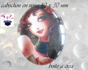 1 cabochon glass 40x30mm miss 30 year theme