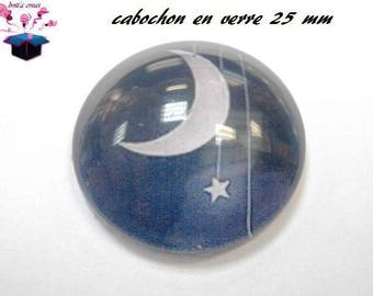 1 cabochon clear 25 mm round moon theme