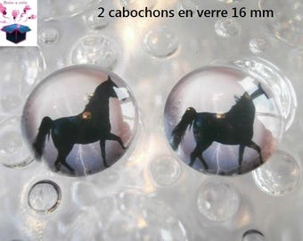 2 glass cabochons 16 mm for loop or ring horse