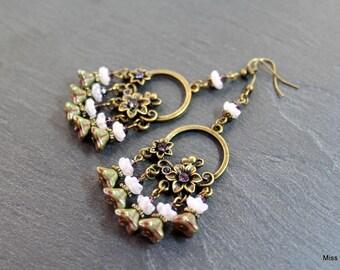 Pink Czech glass flower beads bronze chandelier earrings