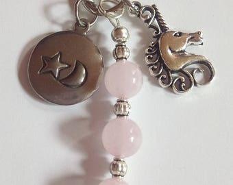 Unicorn Key Ring with Rose Quartz Beads