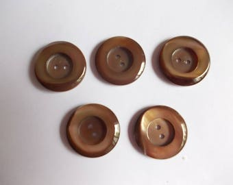 Set of 5 fancy shiny brown buttons