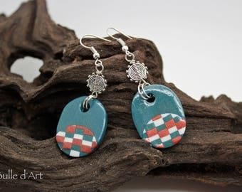 Earrings - collection bargello - polymer clay