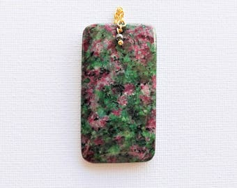 Green Ruby Fuschite (gemstone) pendant Pink black 56 X 30 X 5 mm.