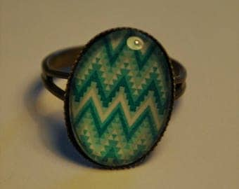 vintage bronze with turquoise geometric ring