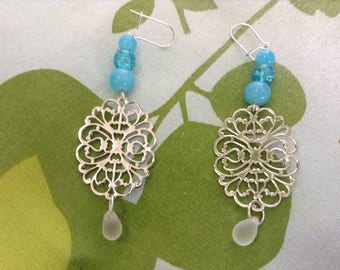 Earrings silver charm turquoise beads and Pearl drop frosted