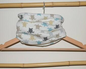 Neck circumference, snood, loop scarf baby and ecru turtles beige, Ecru fleece Interior
