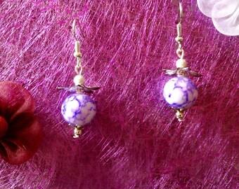Purple marbled glass earrings