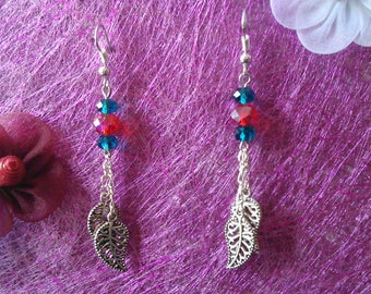Earrings leaves and beads