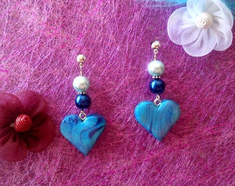 Blue polymer clay heart earrings