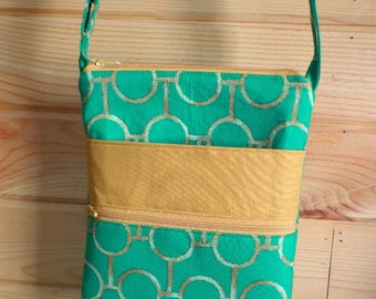 Crossbody Bag, Small Messenger, Adjustable Strap, Green and Yellow