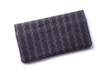 """Fabric Checkbook Cover 6.5""""x3.5"""", Coupons Wallet, Cash Holder Purple and Black For Men and Women"""