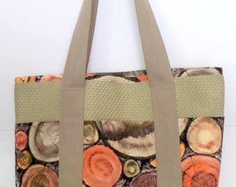 Tote Bag with Pockets for Shopping, Books, School, Market, Diapers, Knitting and Sewing Projects Woodcut Print