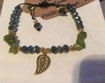Peridot bracelet and brass leaf