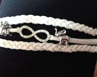 Infinity bracelet cuff cord braids and a rhinestone connector