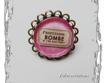 Ring glass cabochon, pink, bomb, humor, message jewelry, I am