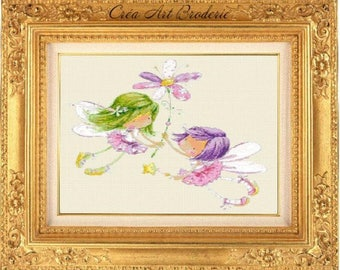 Counted cross stitch fairy children
