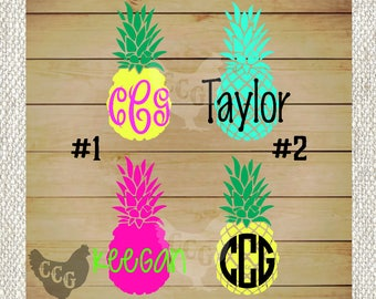 Pineapple Decal - Monogram Pineapple Decal Solid Color