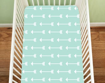 Mint Arrows Fitted Sheet, Floral Fawn Baby Bedding, Deer Bedding, Fitted Crib Sheet, Changing Pad Cover