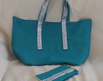 Turquoise cotton linen shopping bag and glitters with checkbook is hand gift idea for her unique