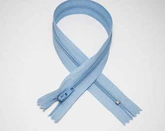 Zip closure, 35 cm, sky blue, not separable