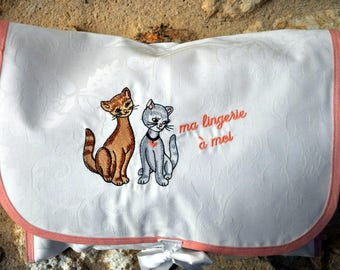 LINGERIE COATING CATS PATTERN COTTON FABRIC POUCH