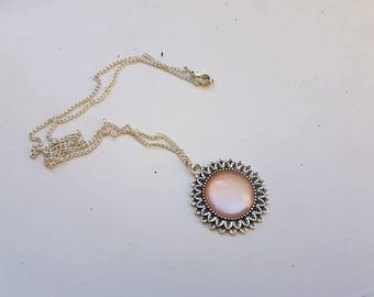 pale pink flower silver necklace