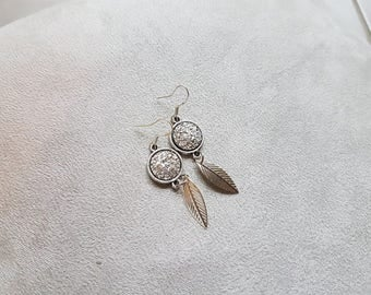 chic earring silver leaf