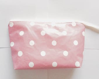 Cosmetic case pink powder with polka dots