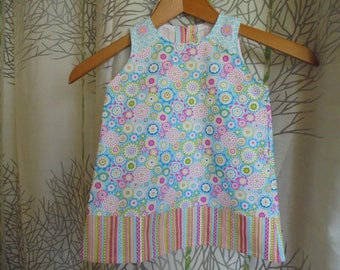 Baby 6 months printed floral/graphic Blue and multicolored cotton dress.