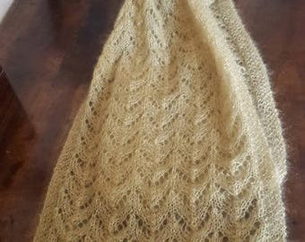 GOLDEN SCARF HANDKNITTED  lace kid mohair and silk