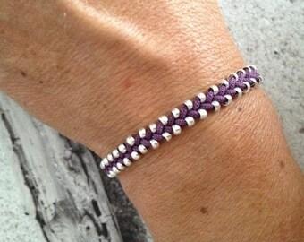 Purple beaded braided bracelet
