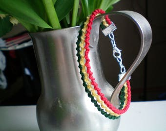 twisted bracelet rasta red yellow green with silver clip