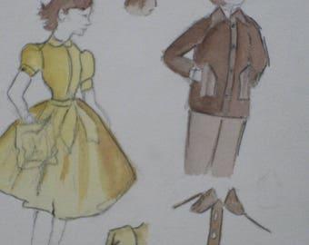 WATERCOLOR fashion original unframed