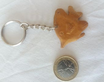 Wooden fish keychain