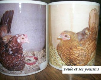 2 Mugs Easter special with photo of a hen with chicks