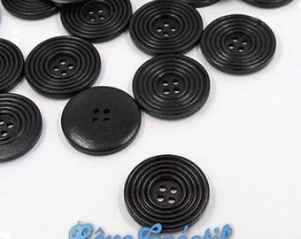 4 Wooden Buttons 4 Holes Buttons Round Buttons Dark Brown 40mm x5mm 4cm