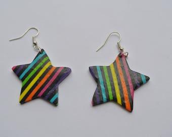 a pair of rainbow star shape earrings