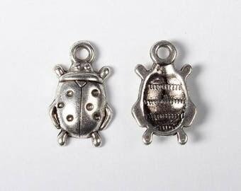 Ladybug charm in silver 17mm x 11mm