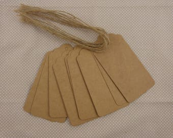 Set of 10 kraft cardstock tags.