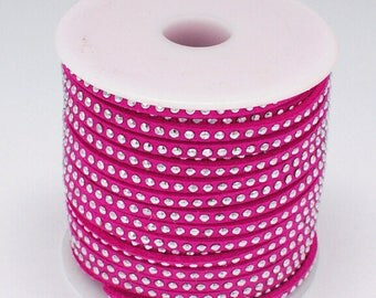 1 meter of 3x2mm silver studded pink suede cord