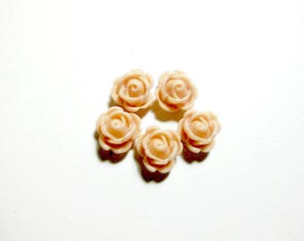 Set of 5 small roses beige 10mm