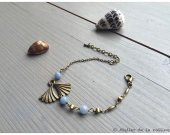 Bracelet Art Deco ginkgo leaf and aquamarine