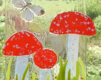 "Fused glass ""Fly Agarics"" hanging"