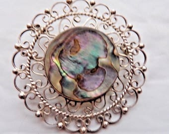 Sterling Silver Real Abalone Shell Large Handmade Pendant Pin Brooch Vintage 40s Mexico