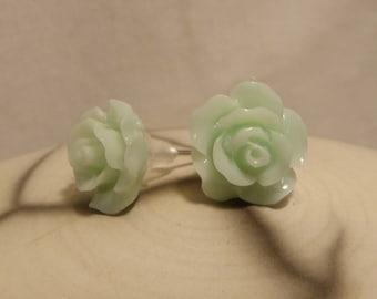 Small Stud Earrings green water romantic retro resin flower